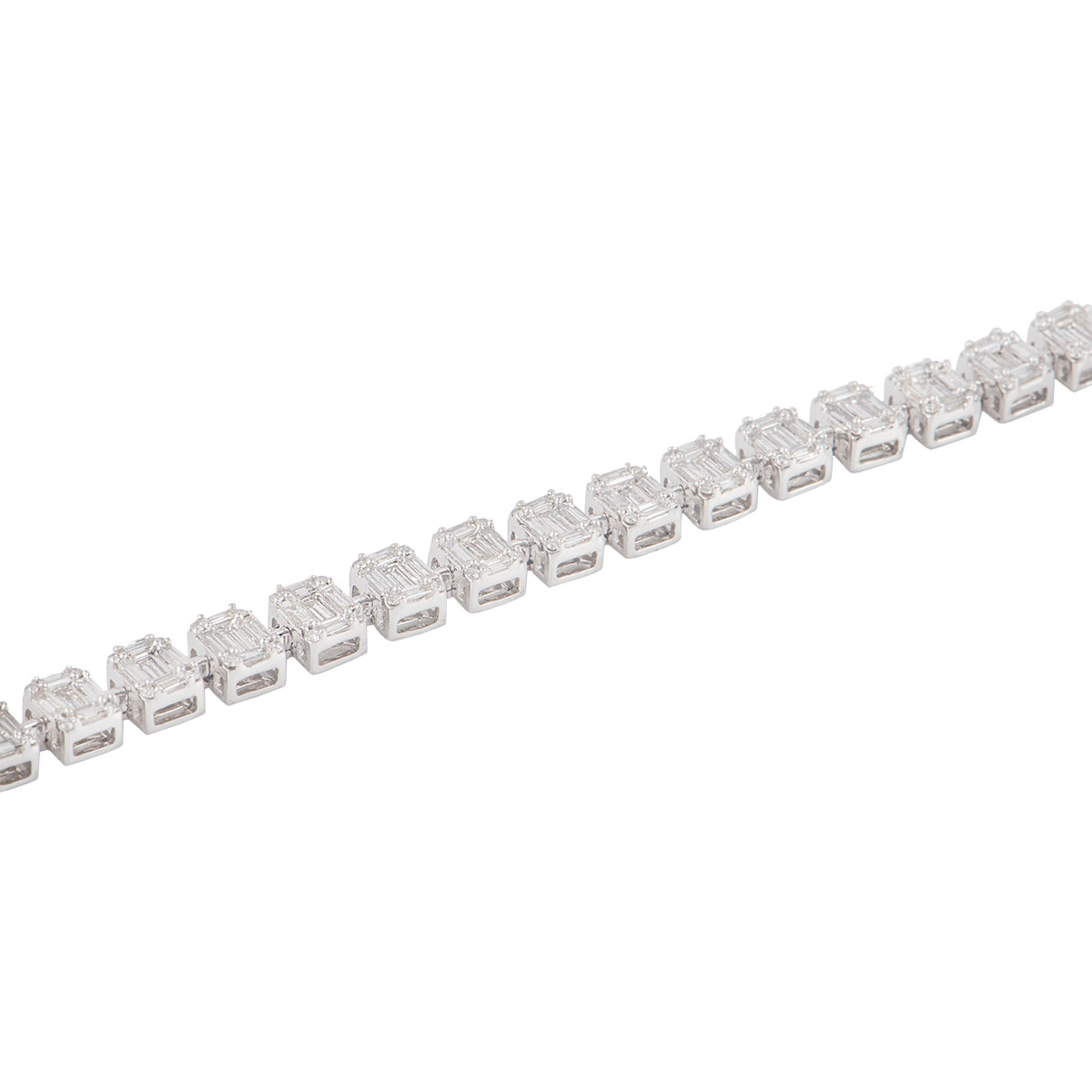 White Gold Illusion Diamond Line Bracelet 5.60ct G-H/VS